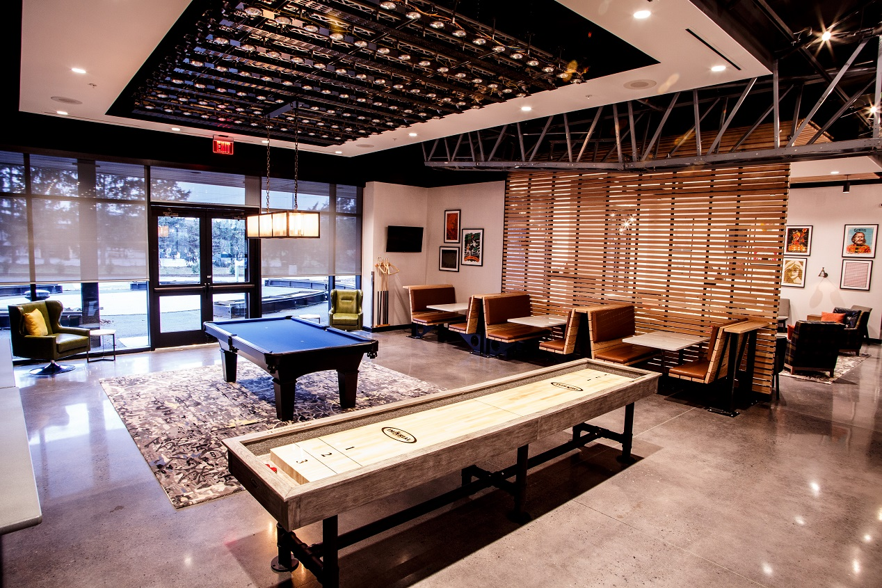 Hotel Rock Lititz Game Area featuring pool tables, shuffleboard and more!
